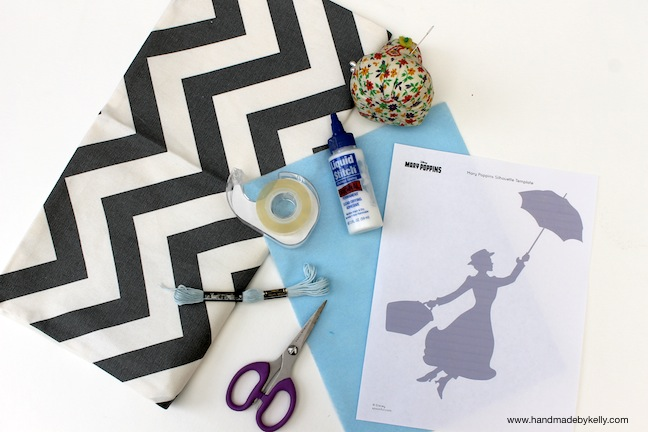 Mary Poppins chevron pillow materials