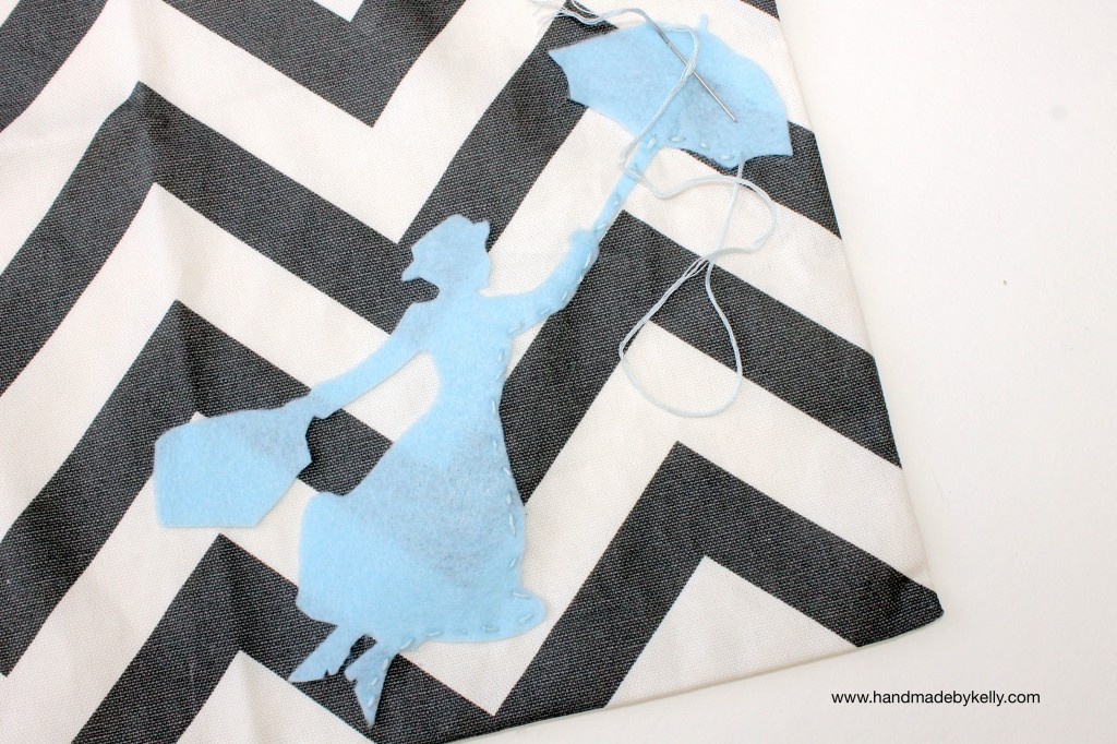 Mary Poppins chevron pillow DIY