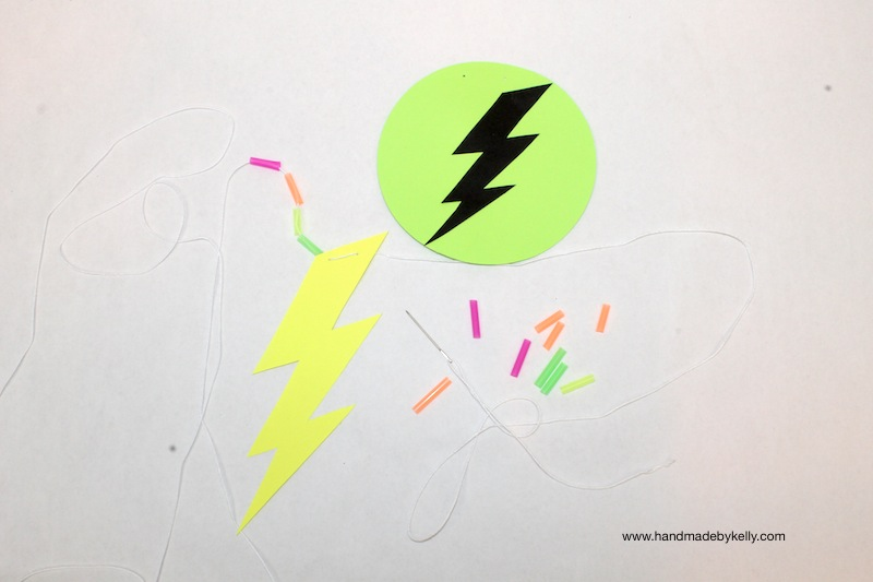 Glow in the dark lightning bolt garland www.handmadebykelly.com