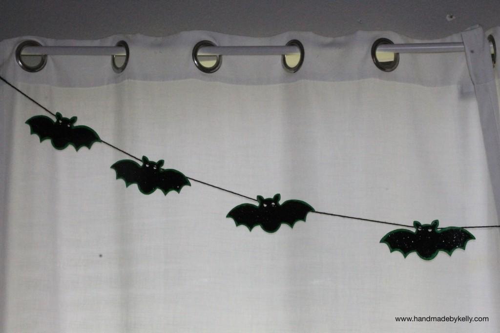 DIY: glow in the dark neon halloween bat garland decoration craft; www.handmadebykelly.com; www.klscrafts.com