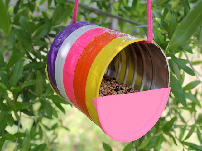 how to make a recycled can bird feeder craft - handmadebykelly.com