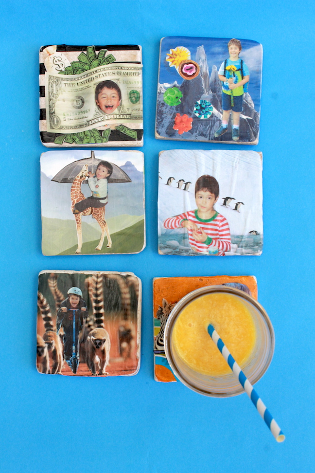 DIY Photo Collage Coaster; handmadebykelly.com; momtastic.com; kelly ladd sanchez
