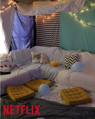 Blanket fort; family movie night; handmadebykelly.com; klscrafts.com; netflix