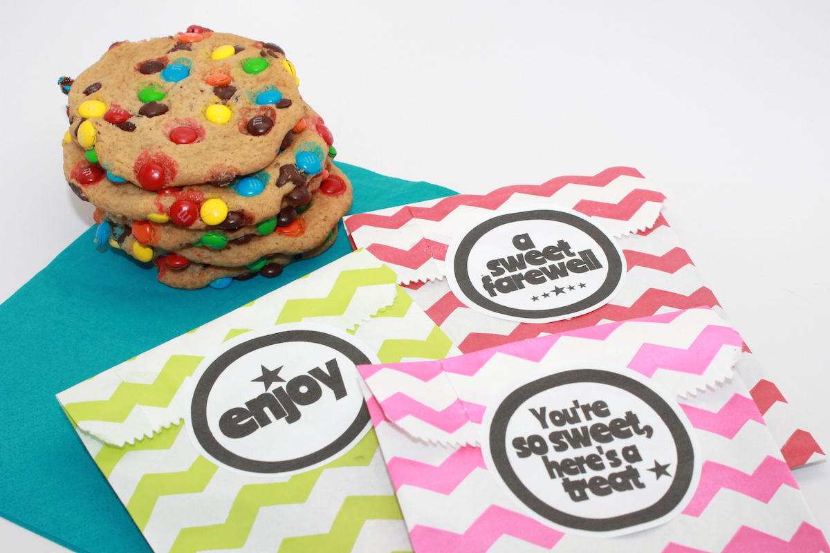 M&M Cookie Recipe + Party Favor Printable  handmadebykelly.com; onlinelabels.com