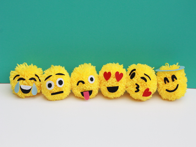 how to make an emoji pom pom christmas ornament; handmadebykelly.com