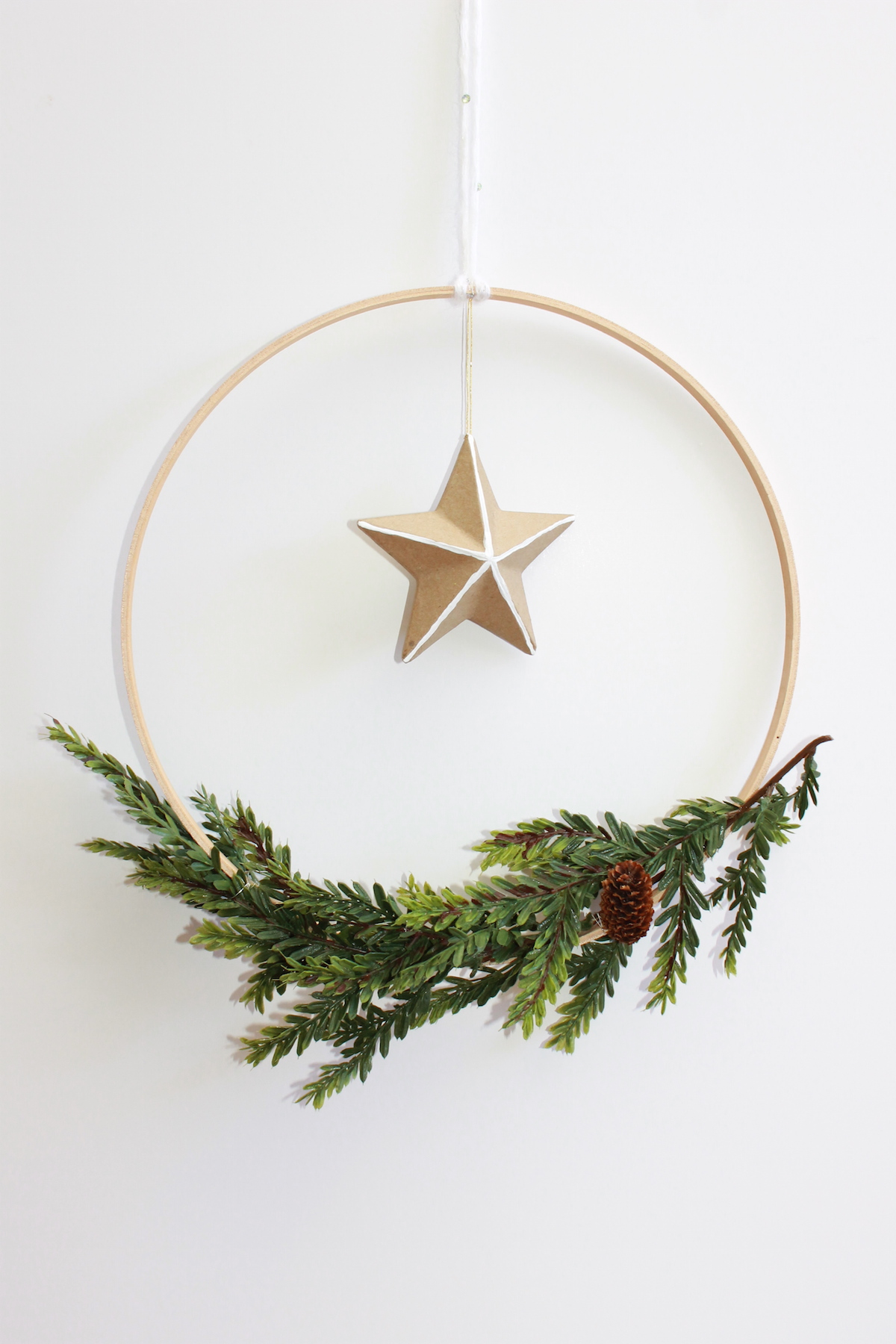 DIY Scandinavian Holiday Wreath Christmas; forrent.com; handmadebykelly.com