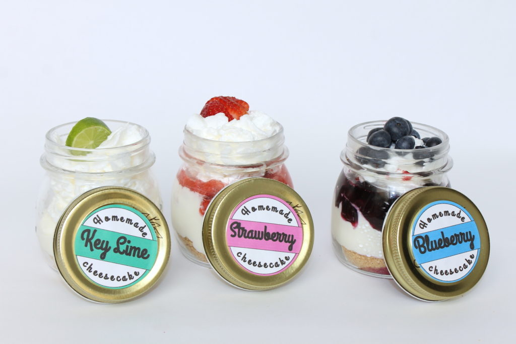 Cheesecake in a Jar Recipes + Recipes- handmadebykelly.com- onlinelabels.com